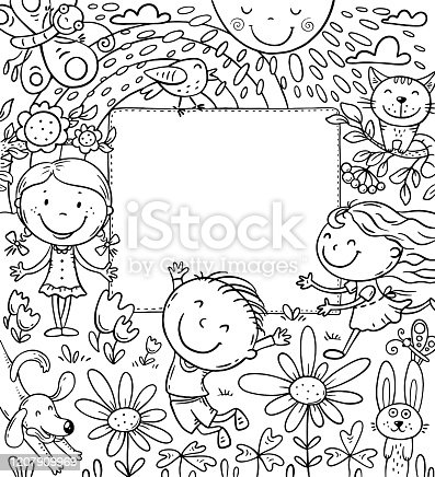istock Cartoon frame with happy kids and a blank space 1207909969