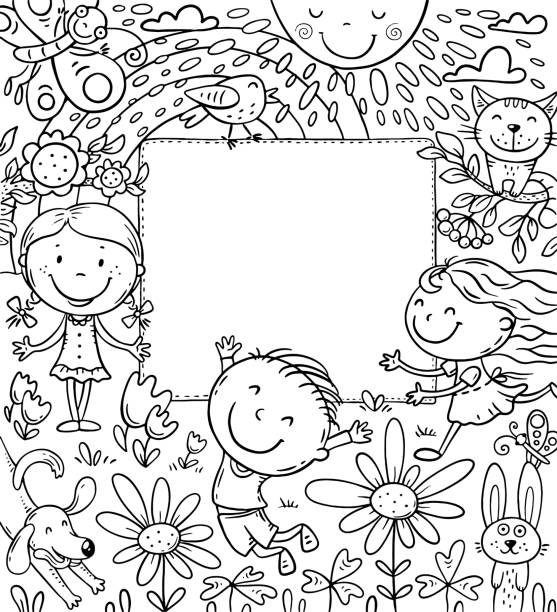 Cartoon frame with happy kids and a blank space vector art illustration