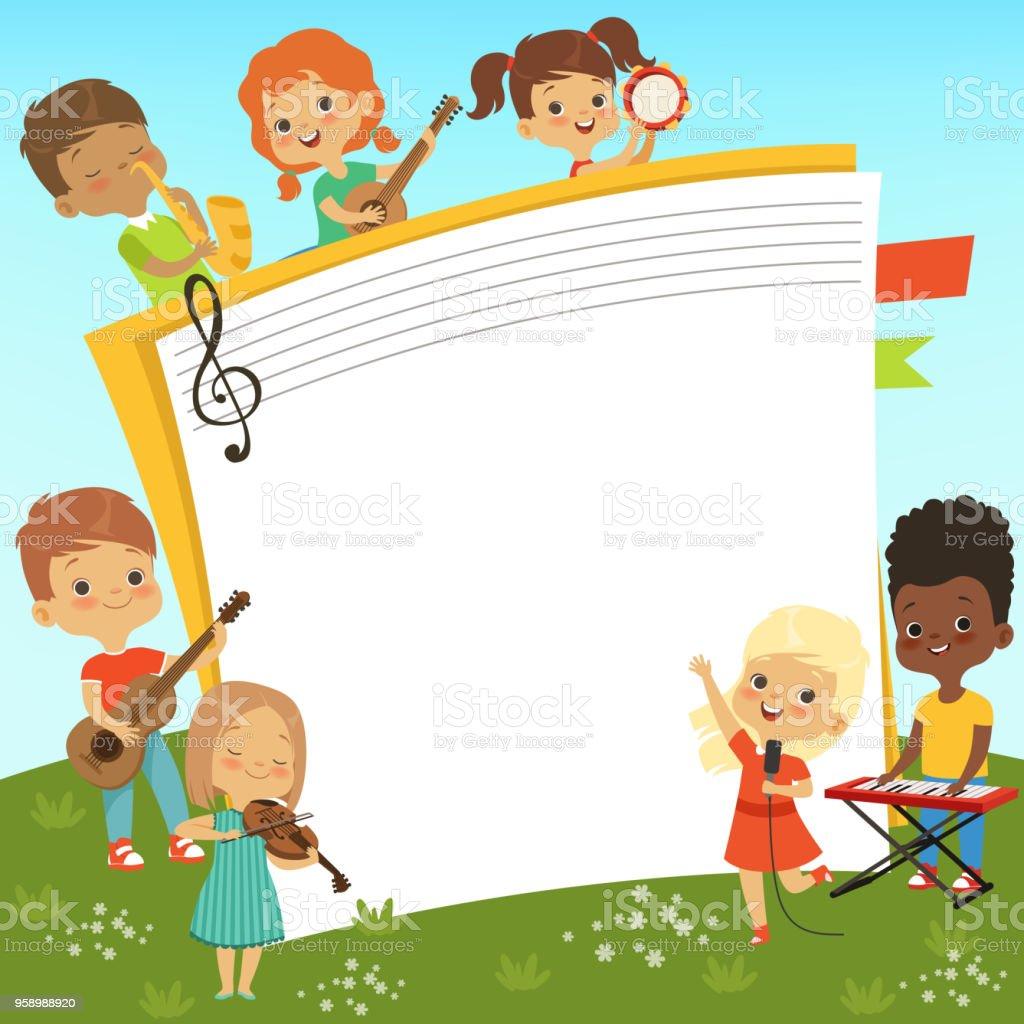 Cartoonrahmen Mit Musiker Kinder Und Leeren Platz Für Ihre ...