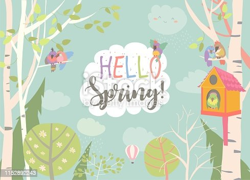 Cartoon frame with spring forest and birds. Vector illustration
