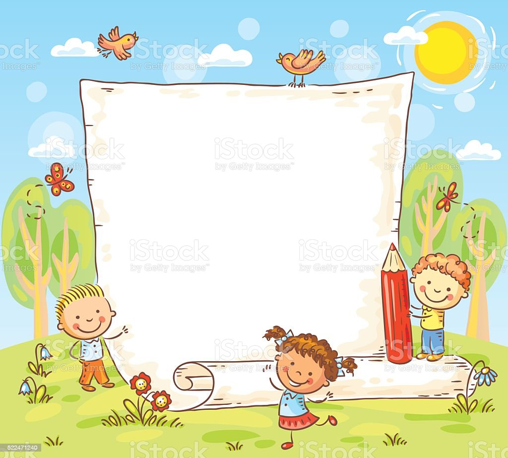 Cartoon Frame With Three Kids Outdoors Stock Illustration ...