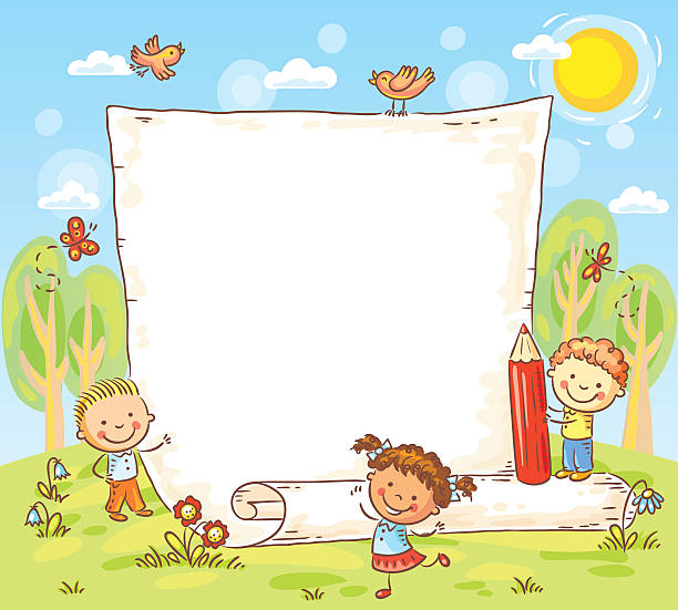 Cartoon frame with three kids outdoors vector art illustration