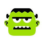 Vector Cartoon Frankenstein Face Isolated On White Background