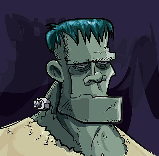 comic frankenstein monster kopf auf dunklem hintergrund - frankenstein stock-grafiken, -clipart, -cartoons und -symbole