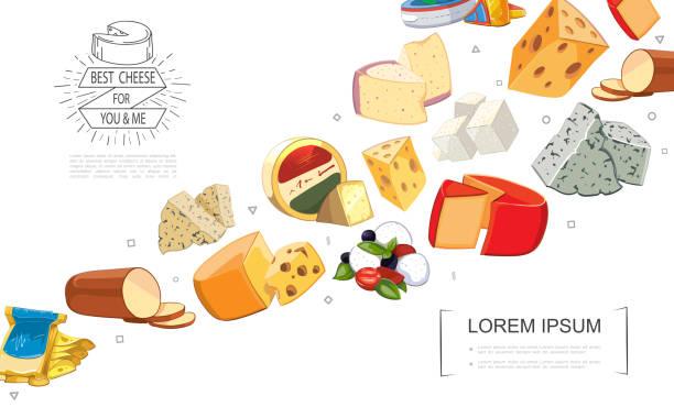 cartoon frischkäse sortiert vorlage - raclette stock-grafiken, -clipart, -cartoons und -symbole