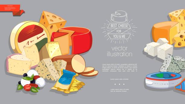 cartoon frische milchprodukte vorlage - raclette stock-grafiken, -clipart, -cartoons und -symbole