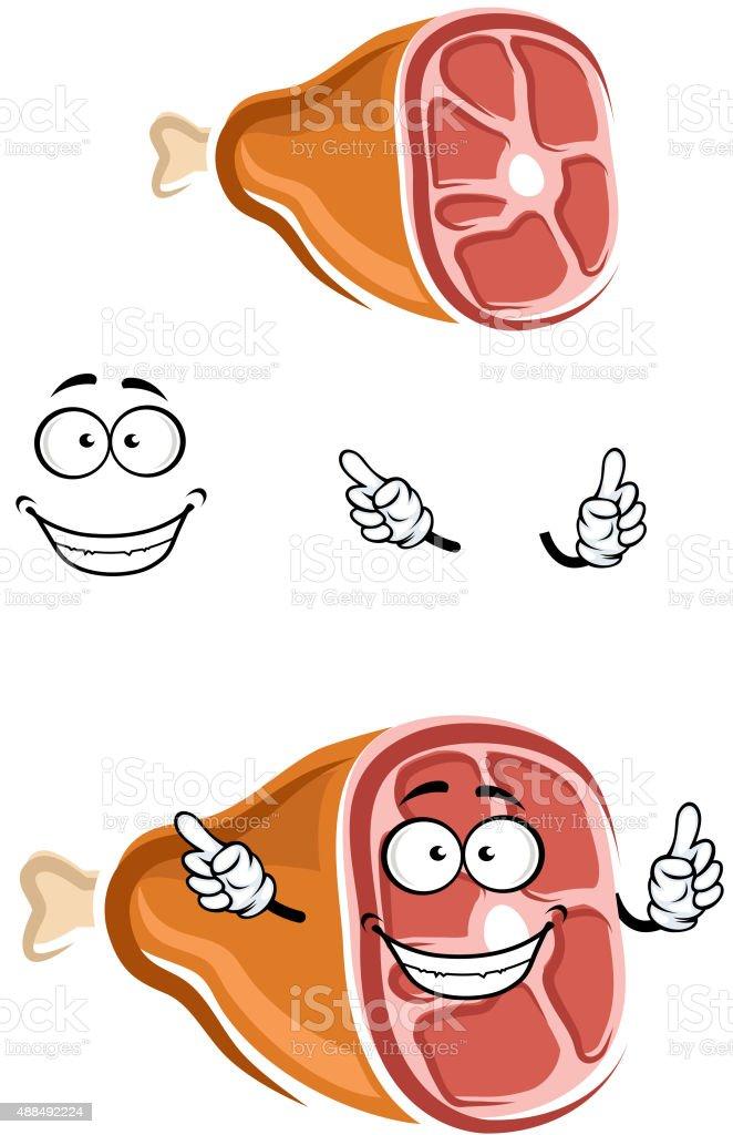 Ilustración de Cerdo De Dibujos Animados Con El Hueso De La Pierna ...
