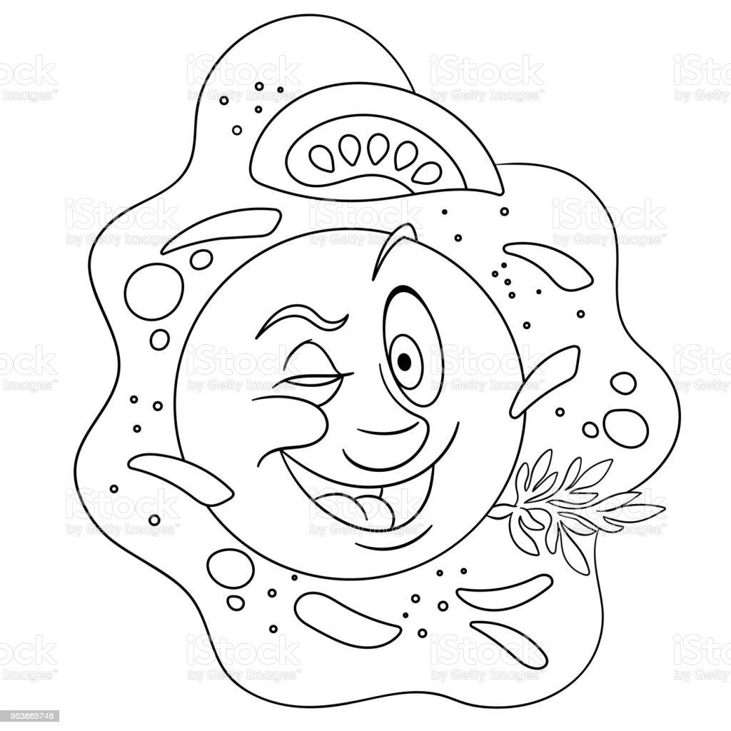 Sahanda Yumurta Karikatür Mutlu Kahvaltı Yemek Güçlü Duygu Stok