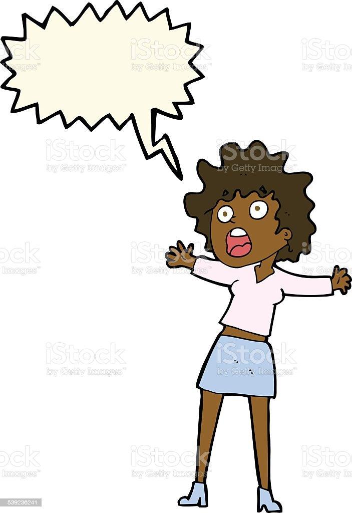 dibujos animados a mujer asustada con burbujas de discurso ilustración de dibujos animados a mujer asustada con burbujas de discurso y más banco de imágenes de adulto libre de derechos