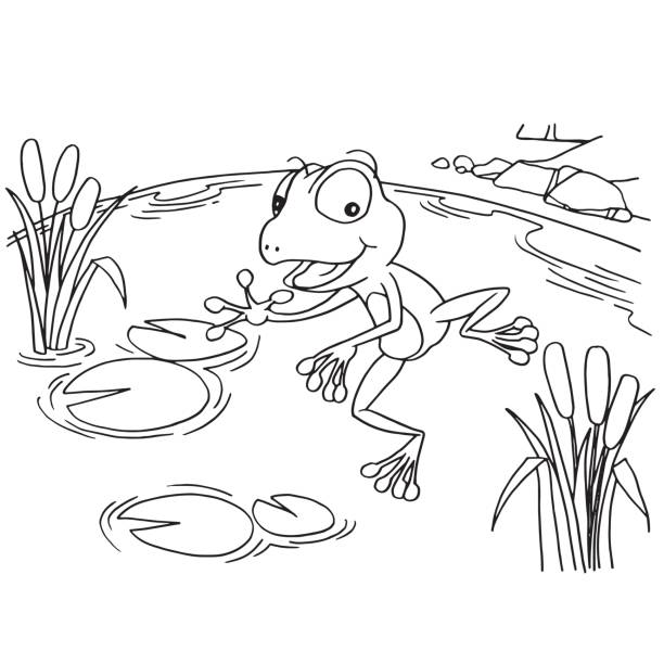 Royalty free cartoon of baby frog clip art vector images for Lake coloring pages