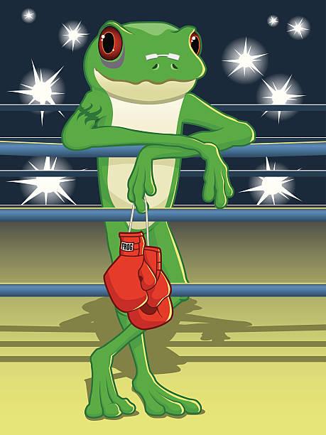 Cartoon Frog - Boxing Champion vector art illustration