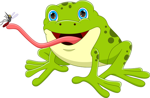 cartoon frog catching mosquito with tongue
