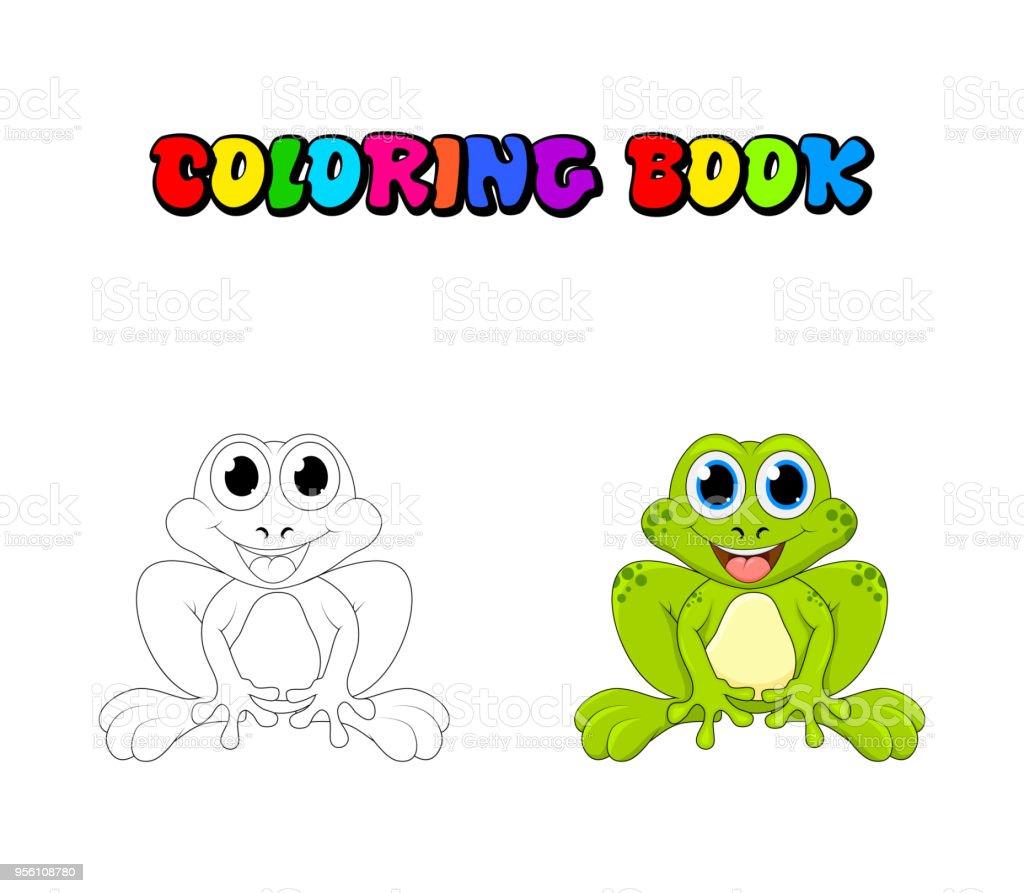 Ilustración De Rana De Dibujos Animados Para Colorear Libro Aislado