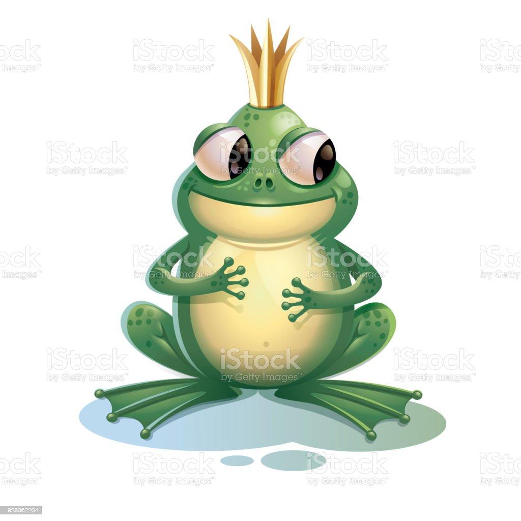 Cartoon Frosch Niedliche Frosch Mit Krone Isoliert Auf Weißem