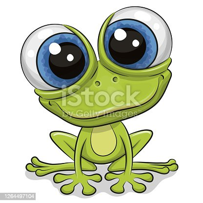 istock Cartoon Frog isolated on a white background 1264497104