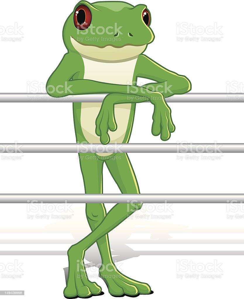 Cartoon Frog Leaning on Railing vector art illustration