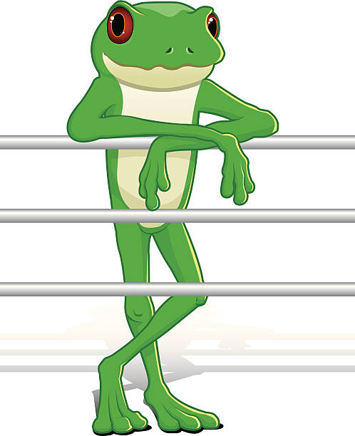 Cartoon Frog Leaning on Railing vector art illustration