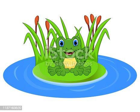 Illustration of Cartoon frog on a leaf in the pond