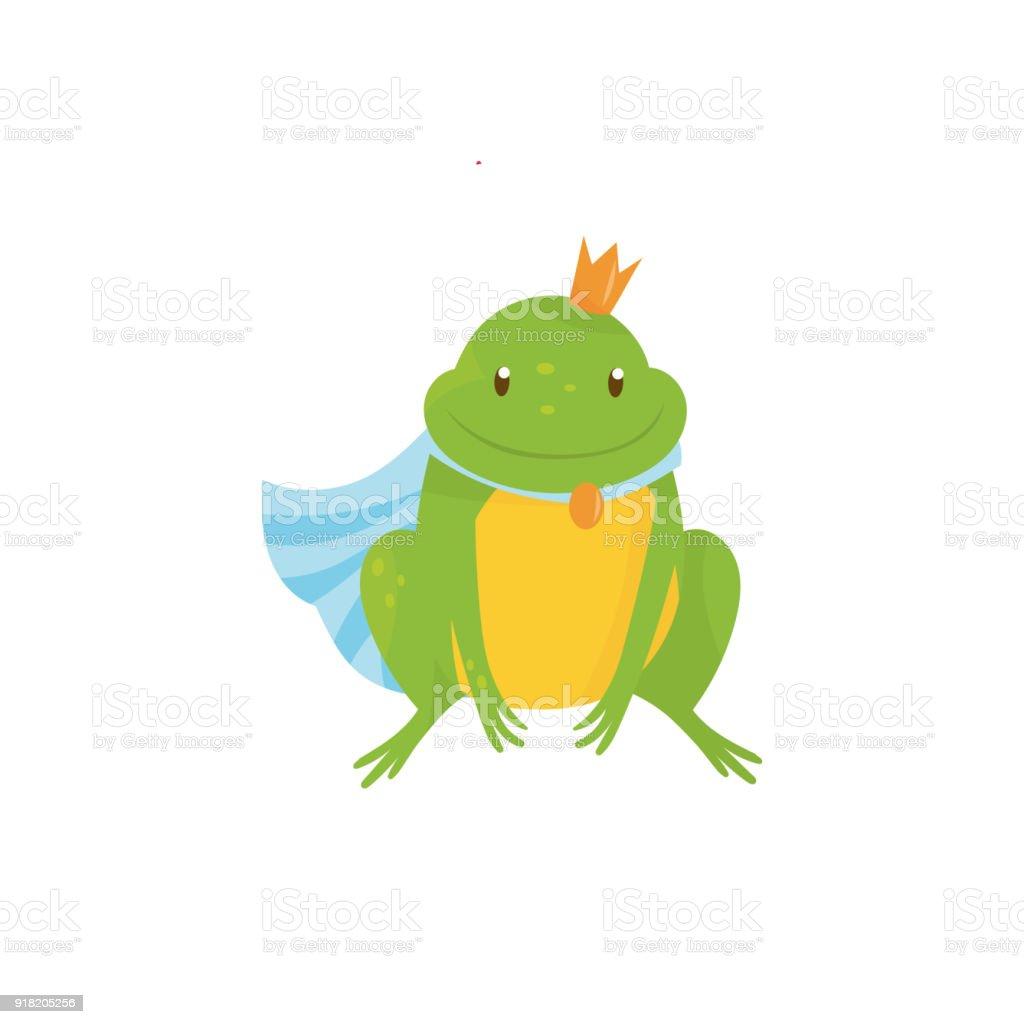 çizgi Film Kurbağa Prens Altın Taç Ve Mavi Manto Yeşil Kurbağa Sarı
