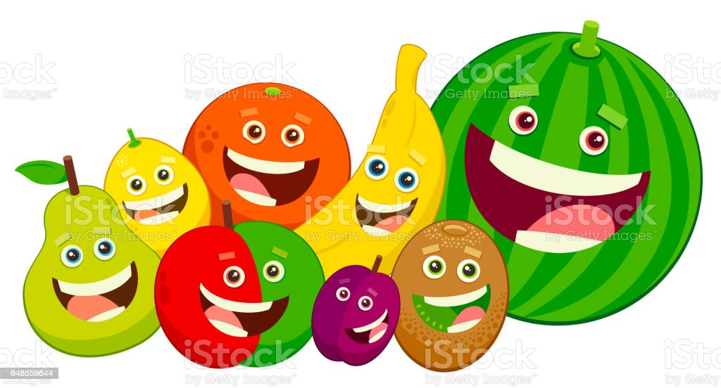 ilustración de grupo de caracteres de fruta de dibujos animados y