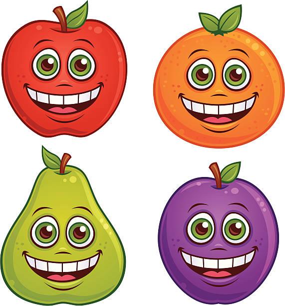 Cartoon Fruit Characters vector art illustration