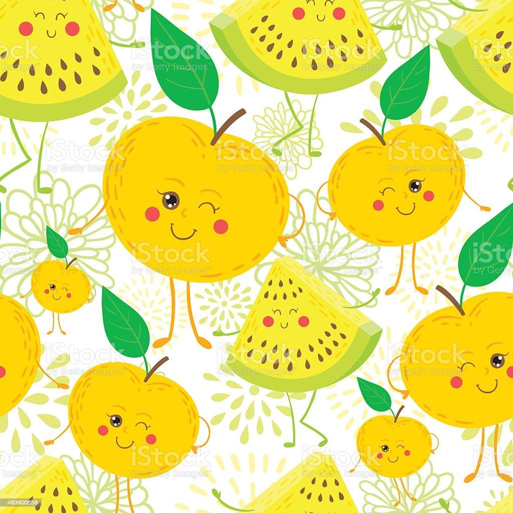 Cartoon fruit pattern royalty-free cartoon fruit pattern stock vector art & more images of 2015