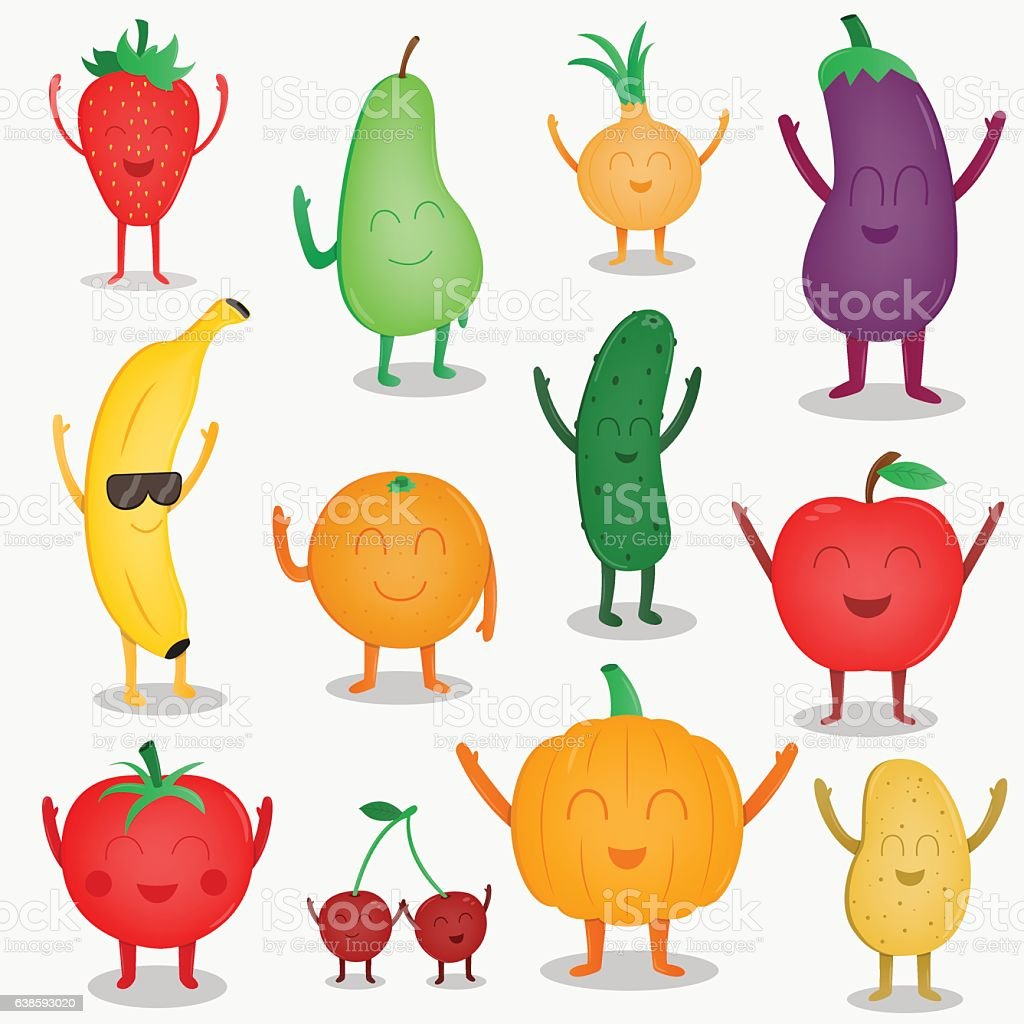 Cartoon fruits and vegetables. Funny food concept. Organic food. Vector vector art illustration