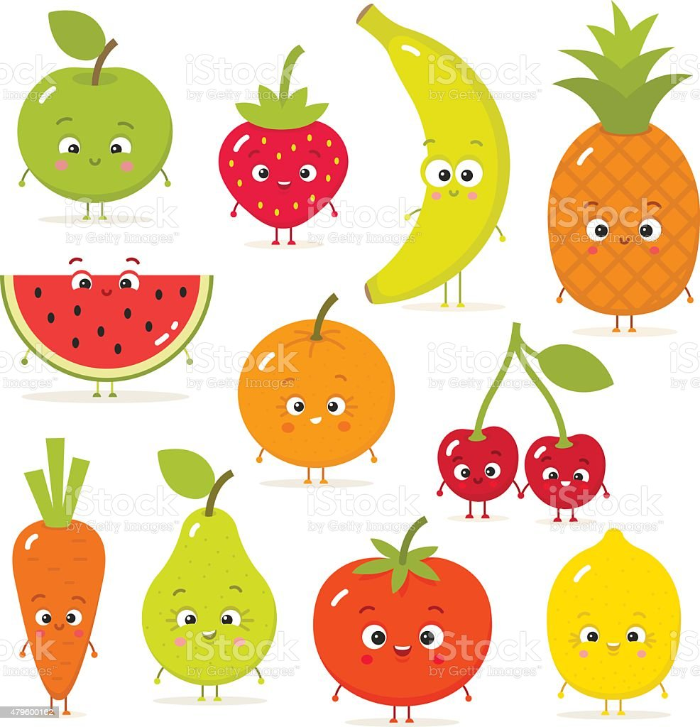 Dessin de fruits et l gumes avec les yeux dans un style - Dessin de legumes ...