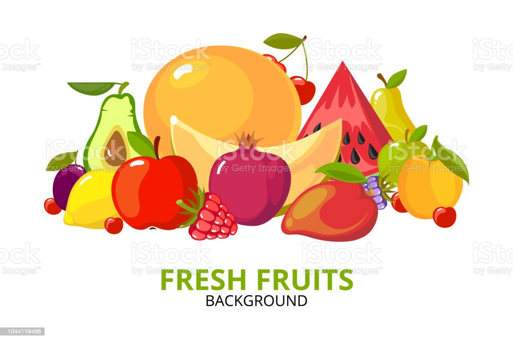 Cartoon Fruits Background Colorful Healthy Food Isolated