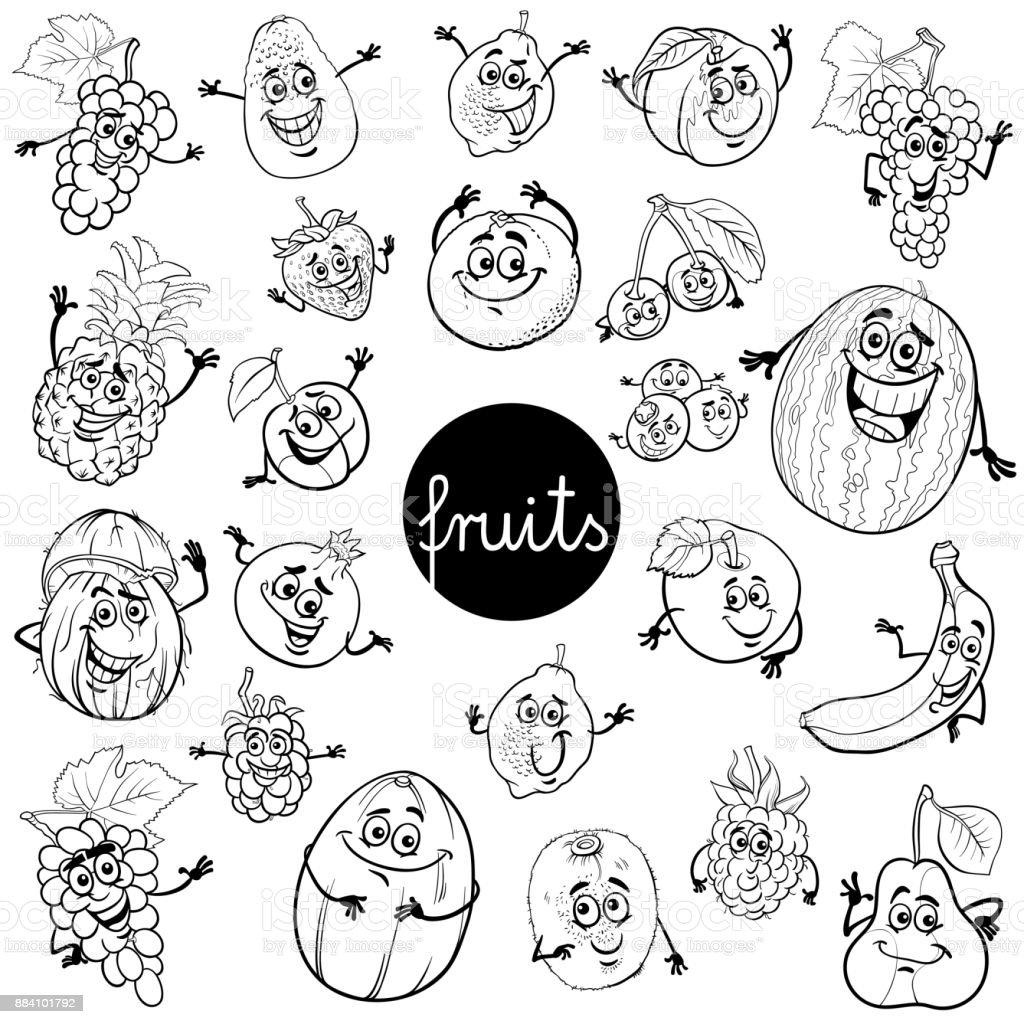 Vetores De Livro De Definir Cor Do Desenho Animado Frutas