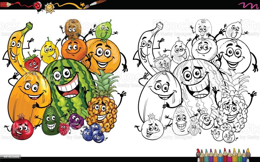 çizgi Film Meyve Sayfa Boyama Stok Vektör Sanatı Ananasnin Daha