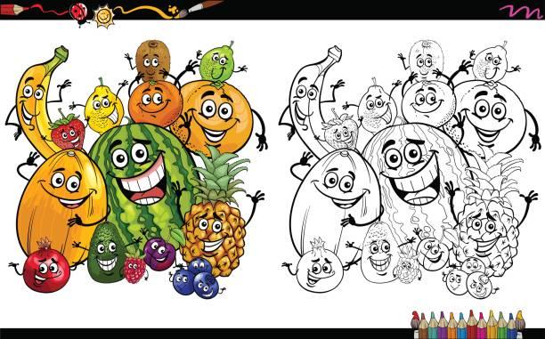 ilustraciones, imágenes clip art, dibujos animados e iconos de stock de dibujos animados de frutas para colorear página - fiesta en la oficina