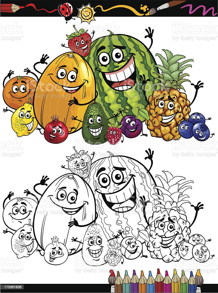 cartoon fruits group for coloring book royalty-free stock vector art