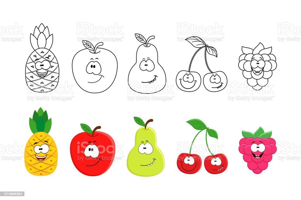 Ilustración De Conjunto De Frutas De Dibujos Animados Libro Dibujos