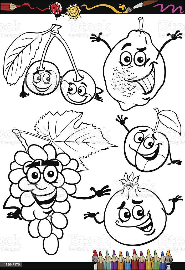 Cartoon Fruits Set For Coloring Book Stock Illustration Download