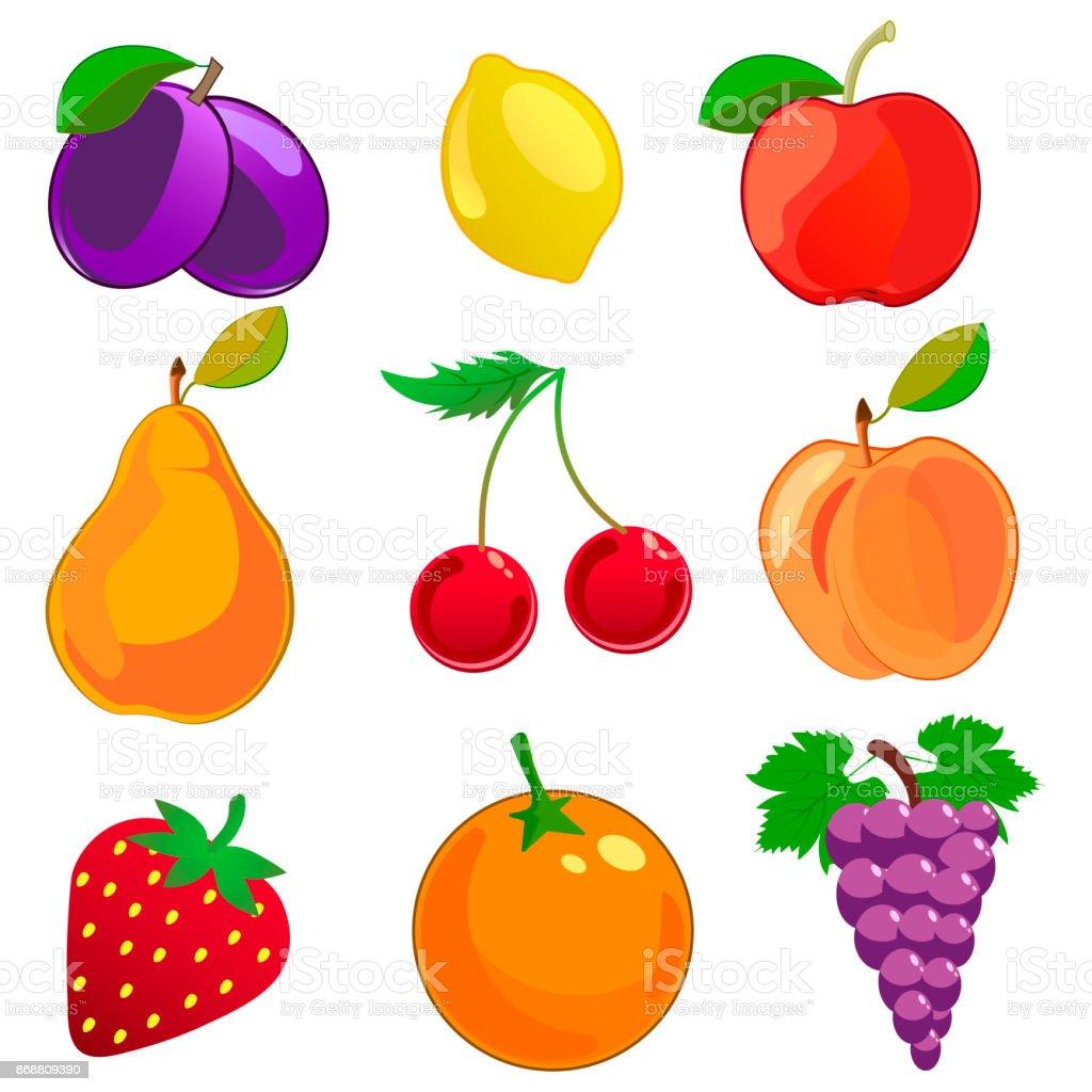 Ilustración De Dibujos Animados Frutas Vector Iconos Conjunto