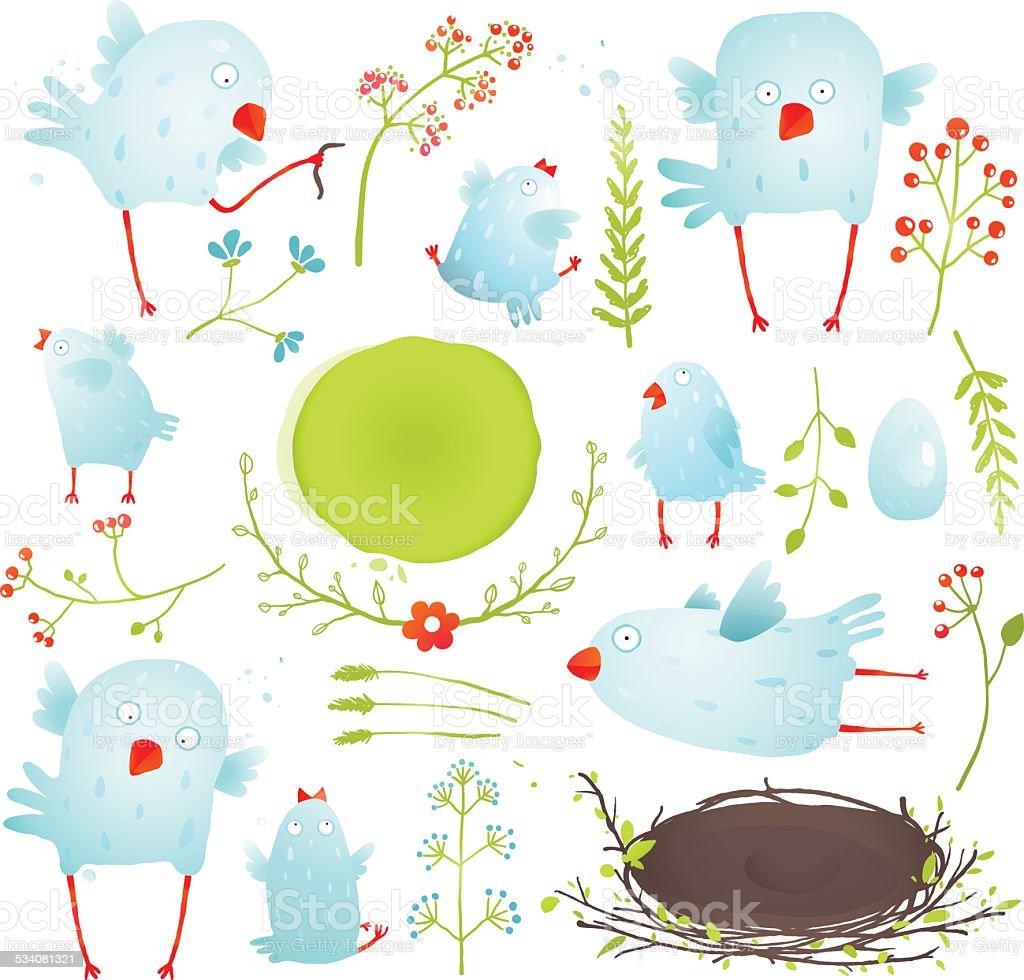 Cartoon Fun and Cute Baby Birds Collection vector art illustration