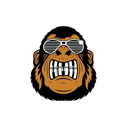 Cartoon Funky Gorilla Head Character