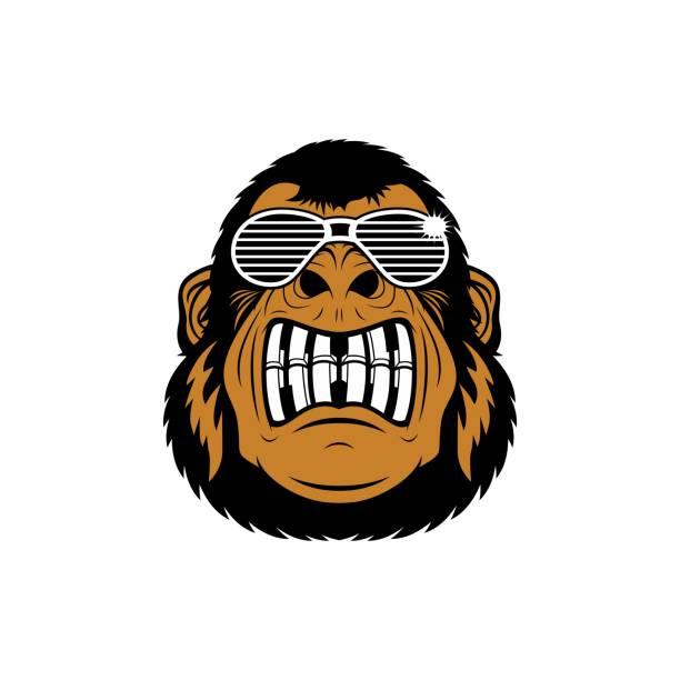 bildbanksillustrationer, clip art samt tecknat material och ikoner med tecknad funky gorilla head karaktär - hip hop poster