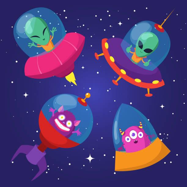 stockillustraties, clipart, cartoons en iconen met de grappige vreemdelingen van de cartoon met ufo in eend sterrenhemel vector set - buitenaards wezen