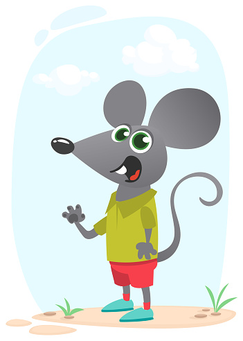 Cartoon funny and happy mouse standing on the summer meadow on the tree stump. Vector illustration