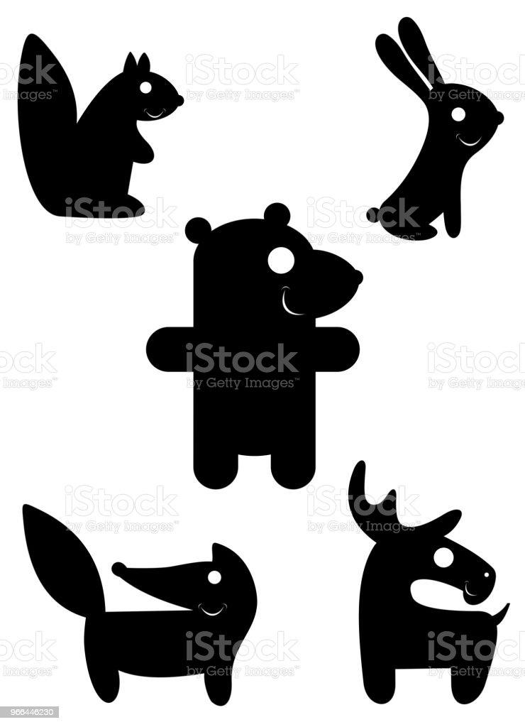 Cartoon funny animal silhouettes isolated illustration vector art illustration