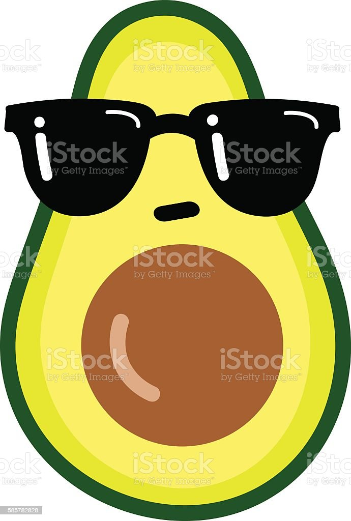 Cartoon funny avocado vector art illustration