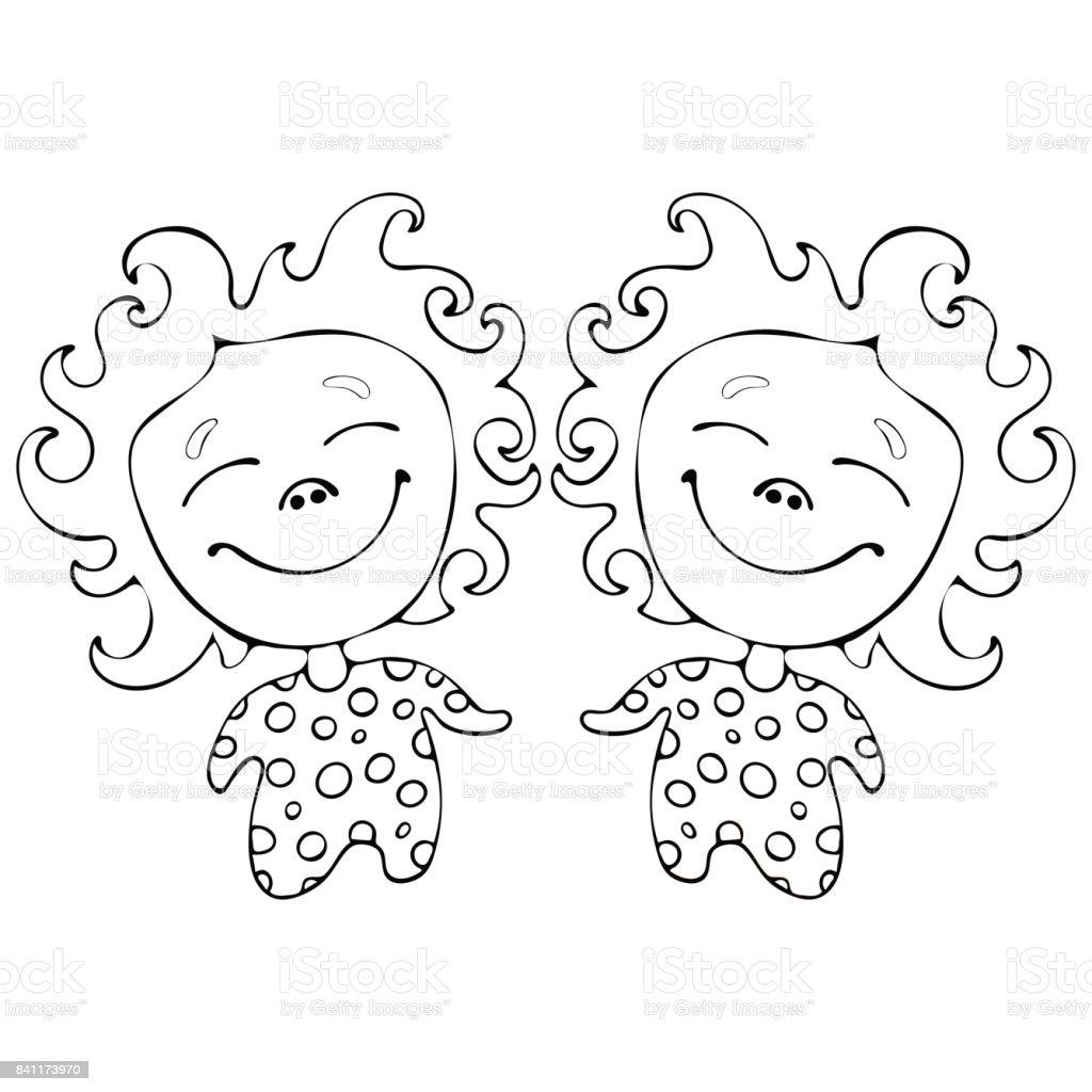 Ilustración De Gemelos Divertidos Chicas De Dibujos Animados Para