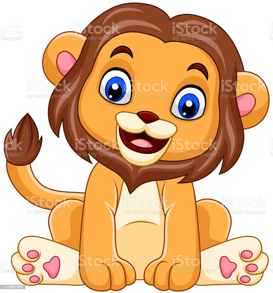 Dessin Animé Drôle Bébé Lion Vecteurs Libres De Droits Et Plus D