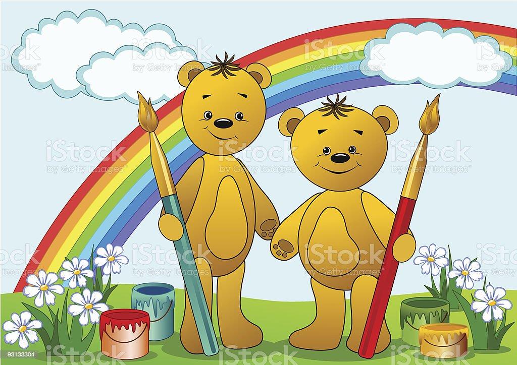 Cartoon funny bears. royalty-free stock vector art
