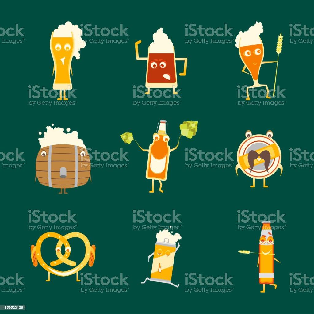 Cartoon Funny Beer Characters Icons Set. Vector vector art illustration