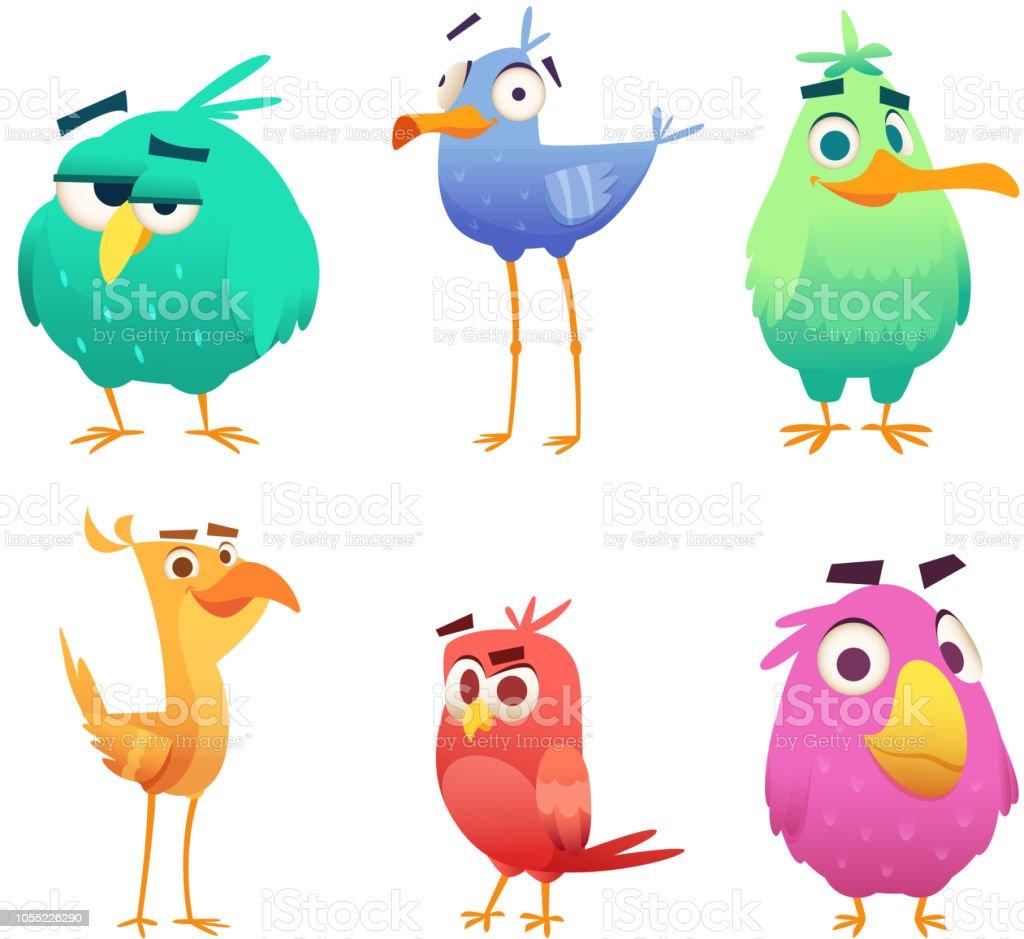 Ilustración De Dibujos Animados Divertidos Pájaros Caras De Bebé De
