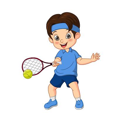 Cartoon funny boy playing tennis