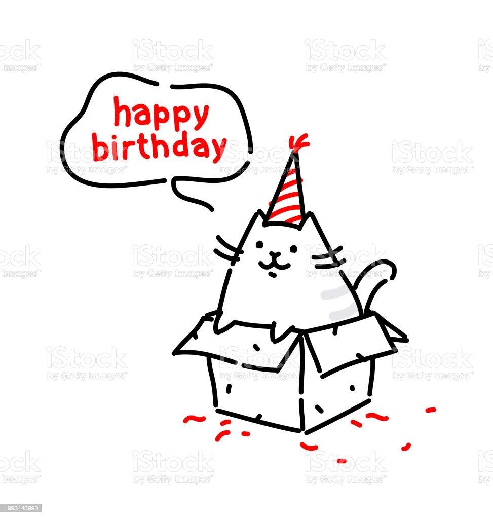 Lustige Katze Cartoon An Seinem Geburtstag Gratuliert Flache
